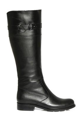 Tarçın Hakiki Deri Siyah Günlük Kadın Topuklu Çizme Trc102-2037