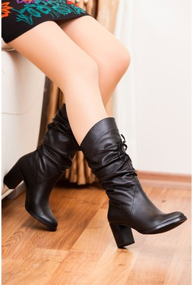 Tarçın Hakiki Deri Siyah Günlük Kadın Topuklu Çizme Trc102-2056