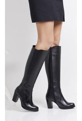 Tarçın Hakiki Deri Siyah Günlük Kadın Topuklu Çizme Trc102-3086