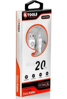 KTools Mini 2A iPhone Lightning Data Kablosu Beyaz 20 cm