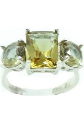 Aykat Zultanit Taşlı Yüzük Gümüş Üç Taşlı Renk Değiştiren Bayan Yüzüğü YZK-258