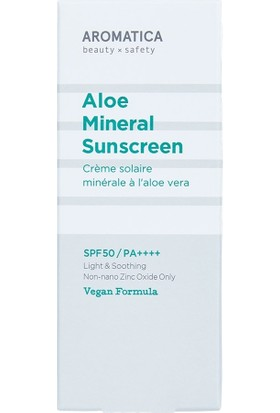 Aromatica Aloe Mineral Sunscreen SPF50PA++++ - Aloe Fiziksel Güneş Koruma