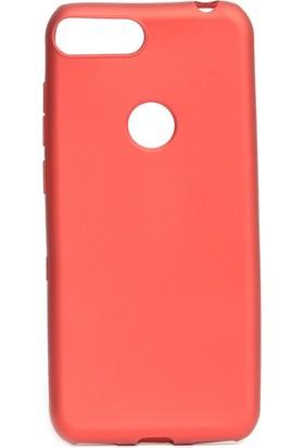 KNY Alcatel 1S Kılıf Ultra İnce Mat Silikon Kırmızı + Cam Ekran Koruyucu