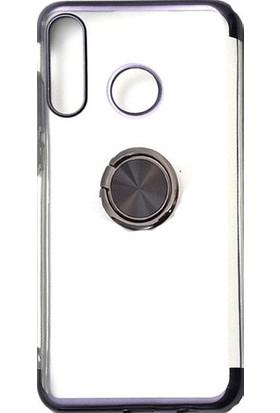 KNY Huawei P Smart Z Kılıf 4 Köşe Renkli Yüzüklü Şeffaf Laser Gess Silikon Siyah + Cam Ekran Koruyucu