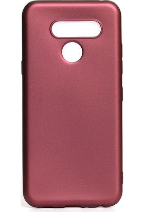 KNY LG Q60 Kılıf Ultra İnce Mat Silikon Bordo + Cam Ekran Koruyucu