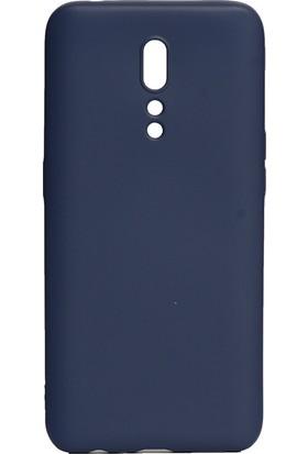 KNY OPPO Reno Z Kılıf Ultra İnce Mat Silikon Lacivert + Cam Ekran Koruyucu