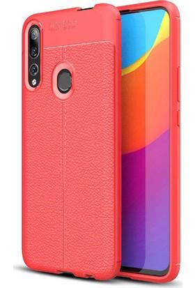 KNY Huawei P Smart Z Kılıf Deri Desenli Lux Niss Silikon Kırmızı + Nano Cam Ekran Koruyucu
