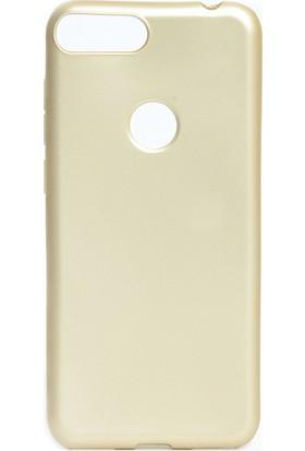 HappyShop Alcatel 1S Kılıf Ultra İnce Mat Silikon Gold + Cam Ekran Koruyucu