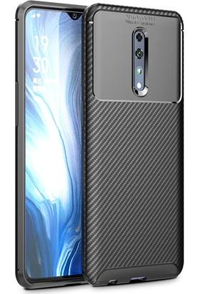 HappyShop OPPO Reno Z Kılıf Karbon Desenli Lux Negro Silikon Siyah + Cam Ekran Koruyucu
