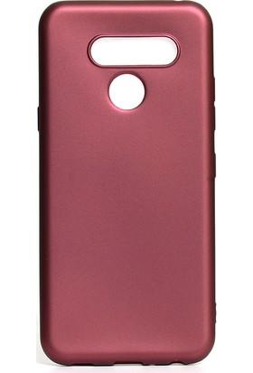 HappyShop LG Q60 Kılıf Ultra İnce Mat Silikon Bordo + Cam Ekran Koruyucu