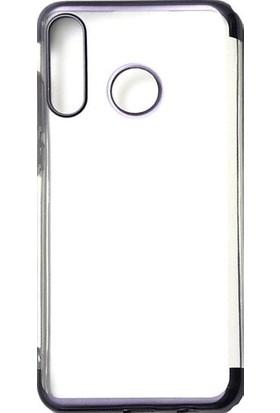 HappyShop Huawei P Smart Z Kılıf 4 Köşe Renkli Şeffaf Laser Silikon Siyah + Nano Cam Ekran Koruyucu