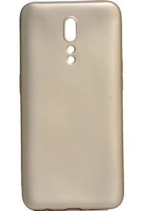 HappyShop OPPO Reno Z Kılıf Ultra İnce Mat Silikon Gold + Nano Cam Ekran Koruyucu