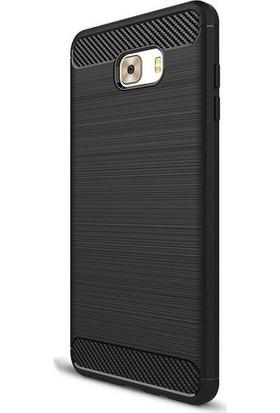 Magazabu Samsung Galaxy C9 Pro Kılıf Ultra Korumalı Room Silikon + Cam Ekran Koruyucu Siyah