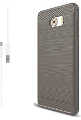 Magazabu Samsung Galaxy C9 Pro Kılıf Ultra Korumalı Room Silikon + Şarj Kablosu + Cam Ekran Koruyucu Gri