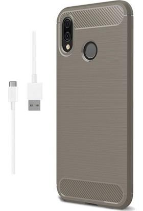 Magazabu Samsung Galaxy M20 Kılıf Ultra Korumalı Room Silikon + Şarj Kablosu + Cam Ekran Koruyucu Gri