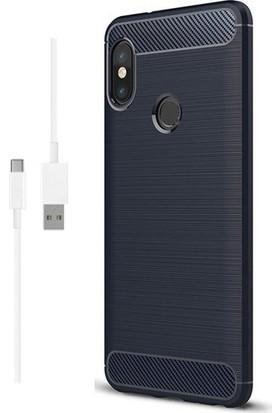 Magazabu Xiaomi Mi8 SE Kılıf Ultra Korumalı Room Silikon + Şarj Kablosu + Cam Ekran Koruyucu Lacivert
