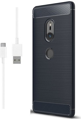 Magazabu Sony Xperia XZ2 Kılıf Ultra Korumalı Room Silikon + Şarj Kablosu + Cam Ekran Koruyucu Lacivert