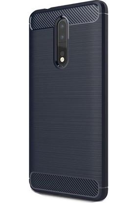 Magazabu Nokia 8 Kılıf Ultra Korumalı Room Silikon + Cam Ekran Koruyucu Lacivert