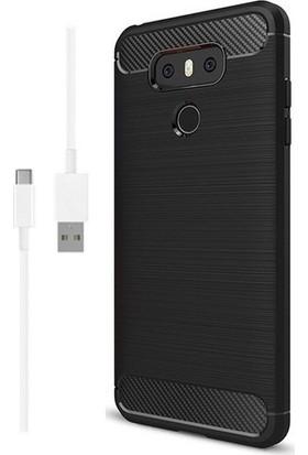 Magazabu LG G6 Kılıf Ultra Korumalı Room Silikon + Şarj Kablosu + Cam Ekran Koruyucu Siyah