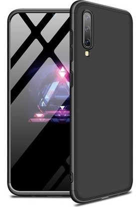 Magazabu Samsung Galaxy A70 Kılıf 3 Parça 360 Ays Kapak + Cam Ekran Koruyucu Siyah