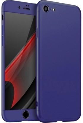 Magazabu Apple iPhone 6 / 6S Kılıf 3 Parça 360 Ays Kapak + Cam Ekran Koruyucu Mavi