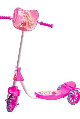 Beren Şeffaf Silikon Tekerlekli Frenli Barbie Figürlü Kız Çocuk Scooter