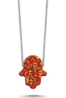 Kutaydan Kırmızı Opal Fatma Ana Eli Kolye