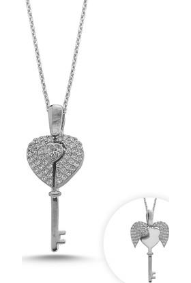 Kutaydan 925 Ayar Gümüş Zirkon Taşlı Hareketli Kalp Anahtar Kolye