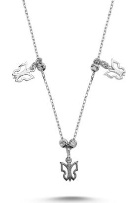 Kutaydan 925 Ayar Gümüş Kelebek Desenli Taşsız Sallantılı Kolye