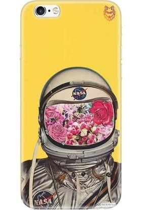 Wolf Dizayn Apple iPhone 6 /6s Plus Sarı Silikon Kılıf - Flowering Astronaut
