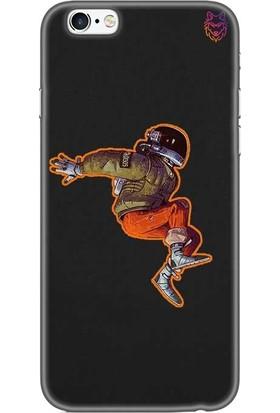 Wolf Dizayn Apple iPhone 6 /6s Plus Siyah Silikon Kılıf - Flying Astronaut