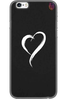 Wolf Dizayn Apple iPhone 6 /6s Plus Siyah Silikon Kılıf - White Heart