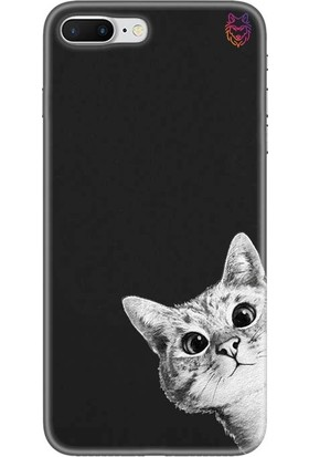 Wolf Dizayn Apple iPhone 7 Plus Siyah Silikon Kılıf - Confused Cat