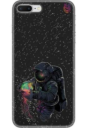 Wolf Dizayn Apple iPhone 7 Plus Siyah Silikon Kılıf - Space Astronot