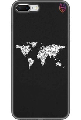 Wolf Dizayn Apple iPhone 7 Plus Siyah Silikon Kılıf - World Map