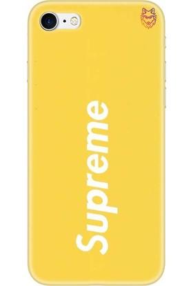 Wolf Dizayn Apple iPhone 7 Sarı Silikon Kılıf - Supreme 4