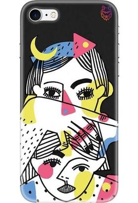 Wolf Dizayn Apple iPhone 7 Siyah Silikon Kılıf - Kübik