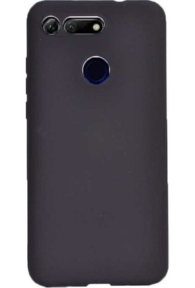 Tekno Grup Huawei Honor View 20 Kılıf Mat Premium Silikon Kılıf - Siyah + Cam Ekran Koruyucu