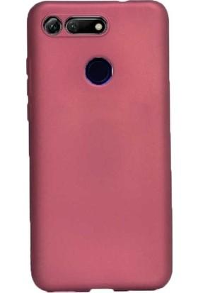 Tekno Grup Huawei Honor View 20 Kılıf Mat Premium Silikon Kılıf - Bordo + Cam Ekran Koruyucu