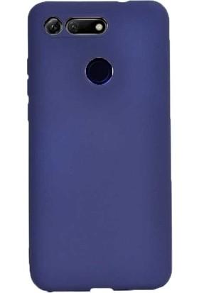 Tekno Grup Huawei Honor View 20 Kılıf Mat Premium Silikon Kılıf - Lacivert + Cam Ekran Koruyucu