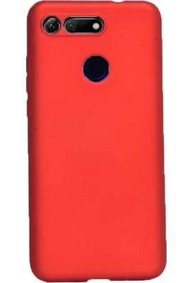 Tekno Grup Huawei Honor View 20 Kılıf Mat Premium Silikon Kılıf - Kırmızı + Nano Ekran Koruyucu