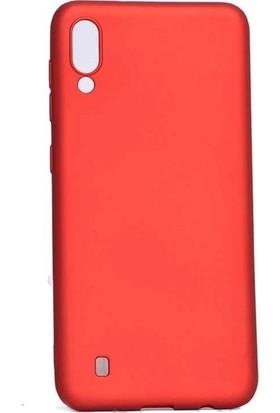 Tekno Grup Samsung Galaxy A10 Kılıf Mat Premium Silikon Kılıf - Kırmızı + Cam Ekran Koruyucu
