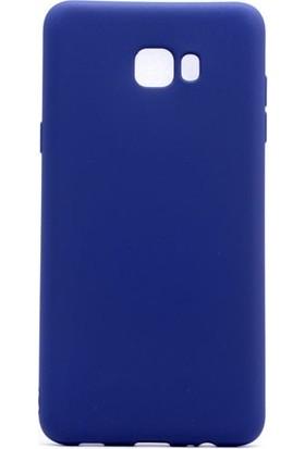 Tekno Grup Samsung Galaxy C9 Pro Mat Premium Silikon Kılıf - Lacivert + Nano Ekran Koruyucu