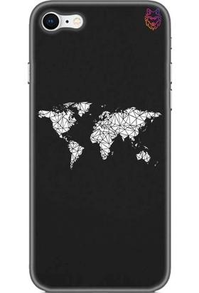 Wolf Dizayn Apple iPhone 8 Siyah Silikon Kılıf - World Map