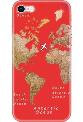 Wolf Dizayn Apple iPhone 8 Kırmızı Silikon Kılıf - Old Map