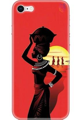 Wolf Dizayn Apple iPhone 8 Kırmızı Silikon Kılıf - Black Woman 2