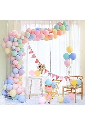 Balonevi Zincir Balon Seti 100 Makaron Balon Soft Renklerde ve 5 m Zincir Aparatı