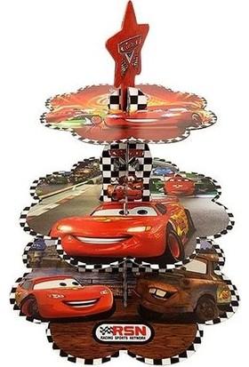 Happy Land Karton Arabalar Kek Standı Şimşek Mcqueen Cars 3 Katlı Stand