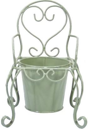 Dekorsende Ferforje Tekli Sandalye Saksı Yeşil