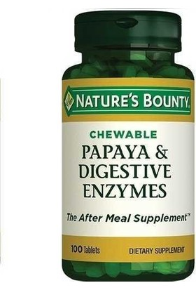Nature's Bounty Papaya Digestive Enzyme Chewable 100 Tablet NAT003370